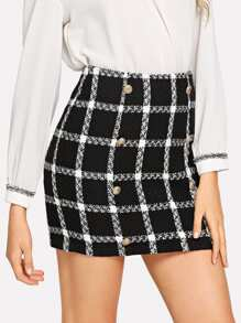 Double Breasted Detail Plaid Tweed Skirt
