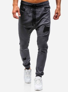 Men Ruched Plain Drawstring Pants