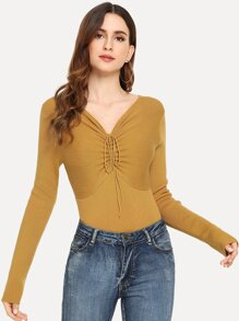 Drawstring Front Slim Fitted Bodice Jumper