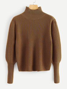 High Neck Gigot Sleeve Jumper