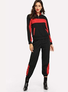 Two Tone Zip Front Sweatshirt & Pants Set