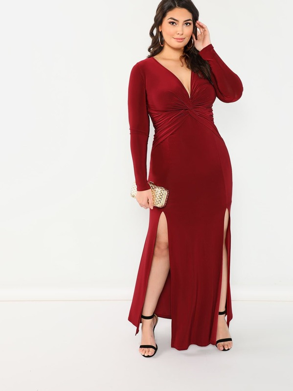 Stretch Knit Twist Front Double Slit Maxi Dress