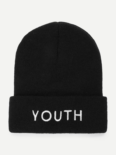Embroidered Letter Beanie Hat