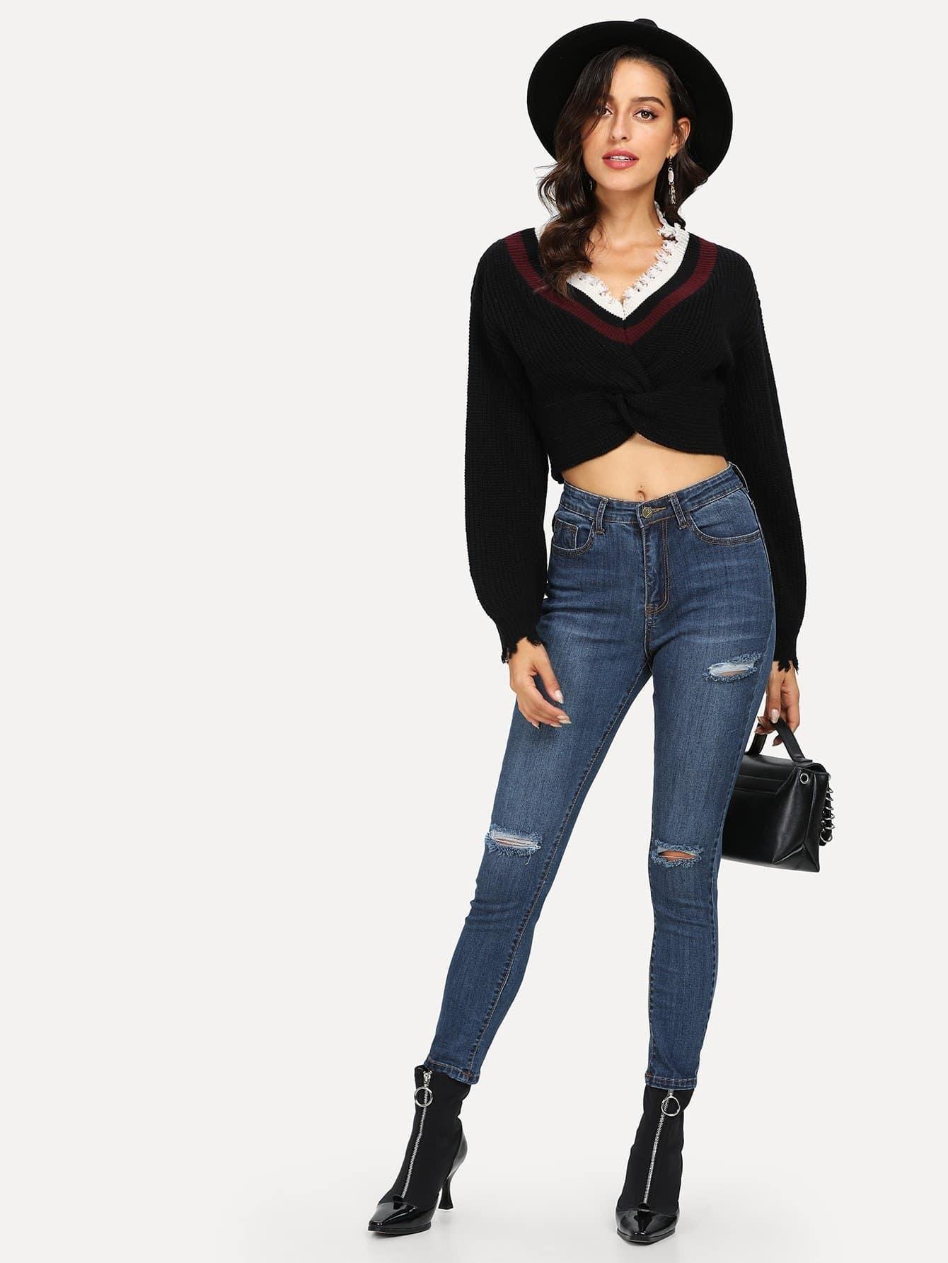 zerrissene verblasste w sche jeans german romwe. Black Bedroom Furniture Sets. Home Design Ideas