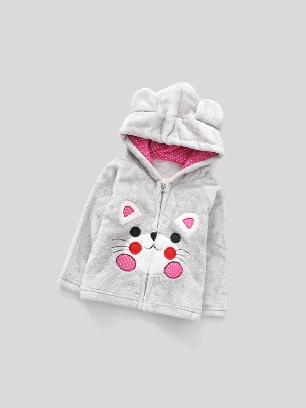 ef97e598a Toddler Girls Cartoon Embroidered Hooded Jacket