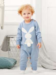Toddler Boys Rabbit Pattern Knit Jumpsuit