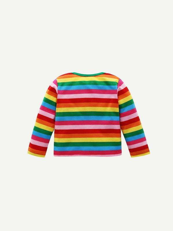 70ac1f7e5 Camiseta de niños pequeños de rayas de arco iris con bordado