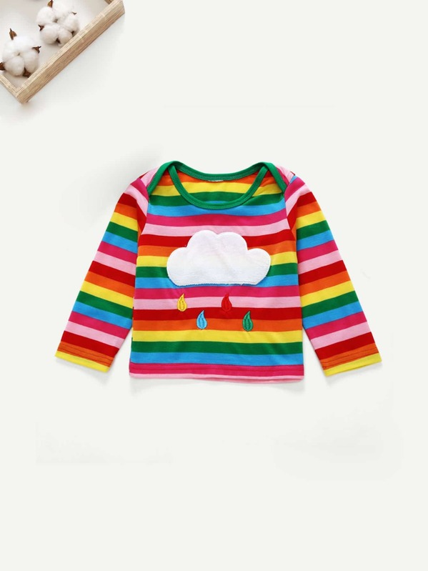 78232026a Cheap Toddler Boys Rainbow Stripe Embroidered Tee for sale Australia | SHEIN