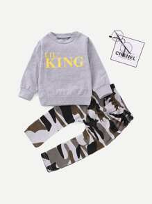 Toddler Boys Letter Print Sweatshirt & Camo Print Pants