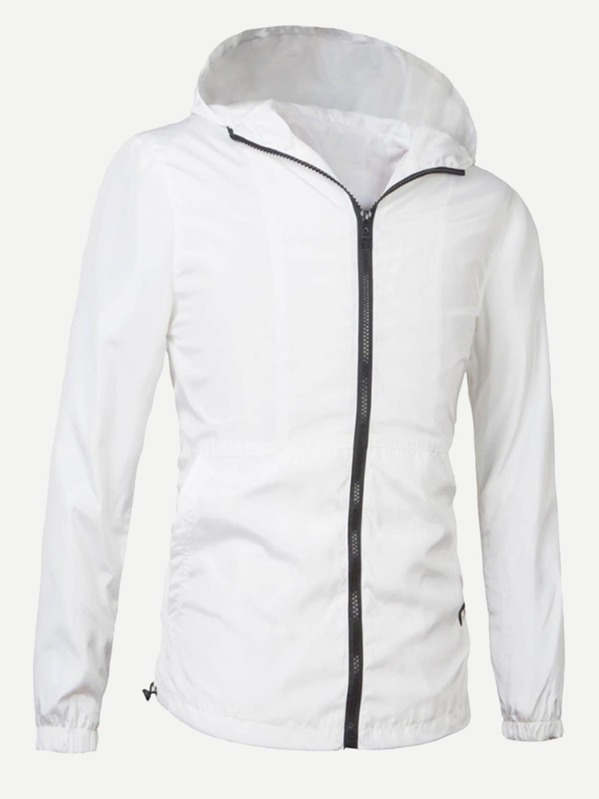 316f2108e7 Men Solid Hooded Windbreaker Jacket | SHEIN