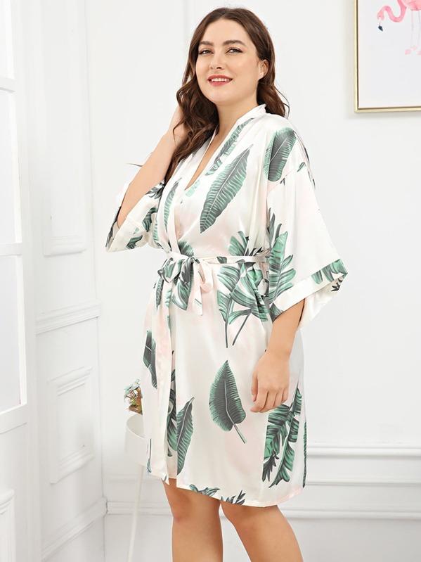 c96f4a7b47576 Plus Palm Leaf Print Self Belted Robe | SHEIN