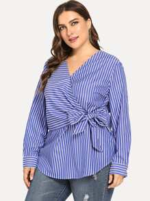Plus Surplice Front Striped Blouse