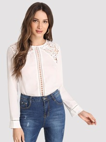 Contrast Lace Cut Out Blouse