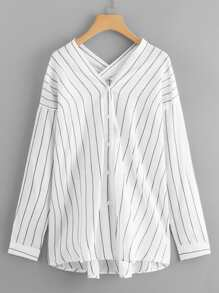 Drop Shoulder Striped V Neck Blouse