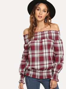 Off Shoulder Lettuce Trim Plaid Blouse
