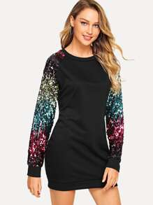 Contrast Sequin Dress