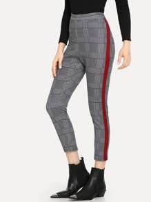 Contrast Trim Houndstooth Print Pants