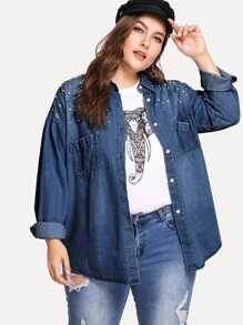 Plus Faux Pearl Decorated Denim Jacket