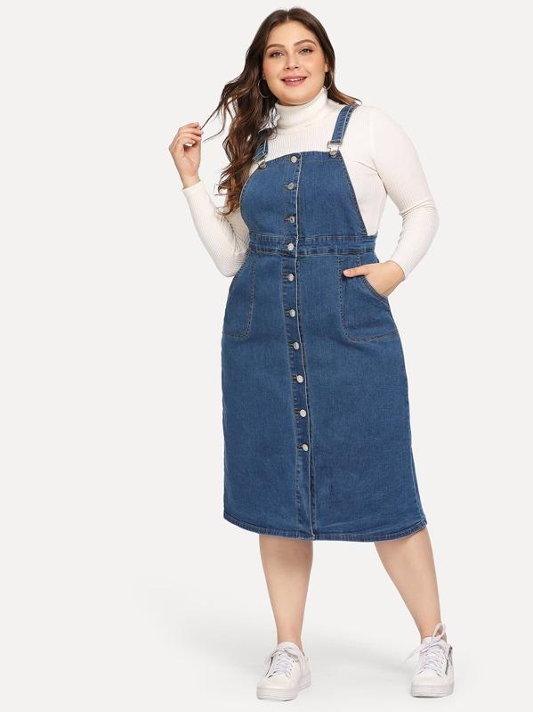 Plus Button Front Denim Dress