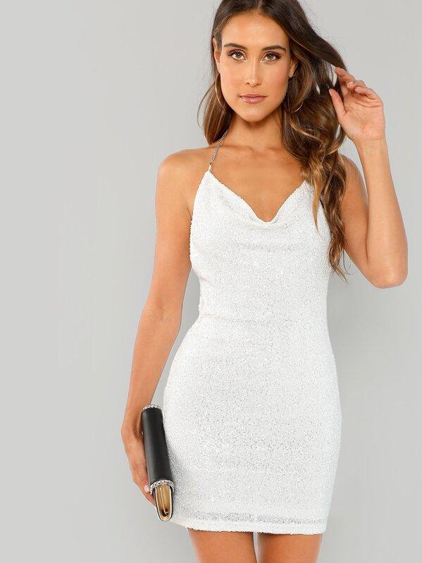 01de5612 Open Back Chain Halter Sequin Dress | SHEIN