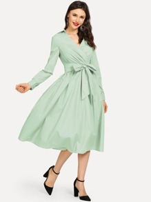 Self Belted Surplice Neck Dress