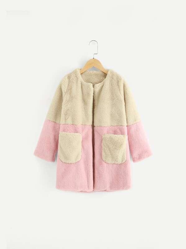 41e4b7fa3 Girls Open Front Cut and Sew Fleece Teddy Coat | SHEIN IN