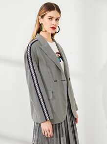 Double Breasted Houndstooth Notched Blazer