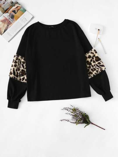 Leopard Panel Lantern Sleeve Sweatshirt