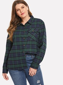 Plus Single Breasted Plaid Blouse