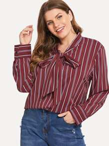 Plus Self-tie Bow Vertical Striped Blouse