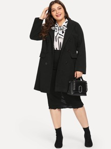 Plus Solid Button Wool Coat