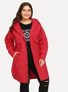 Plus Curved Hem Hooded Coat