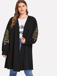 Plus Peacock Embroidered Coat
