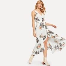 Split Wrap Belted Floral Dress