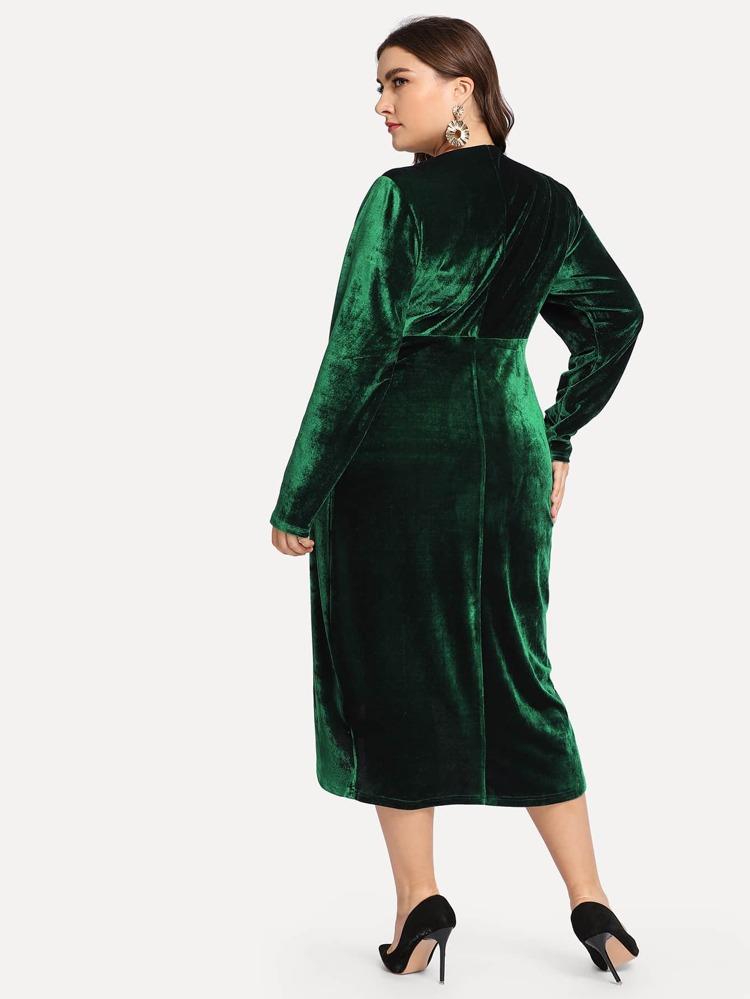 Plus Plunging Wrap Velvet Dress | SHEIN