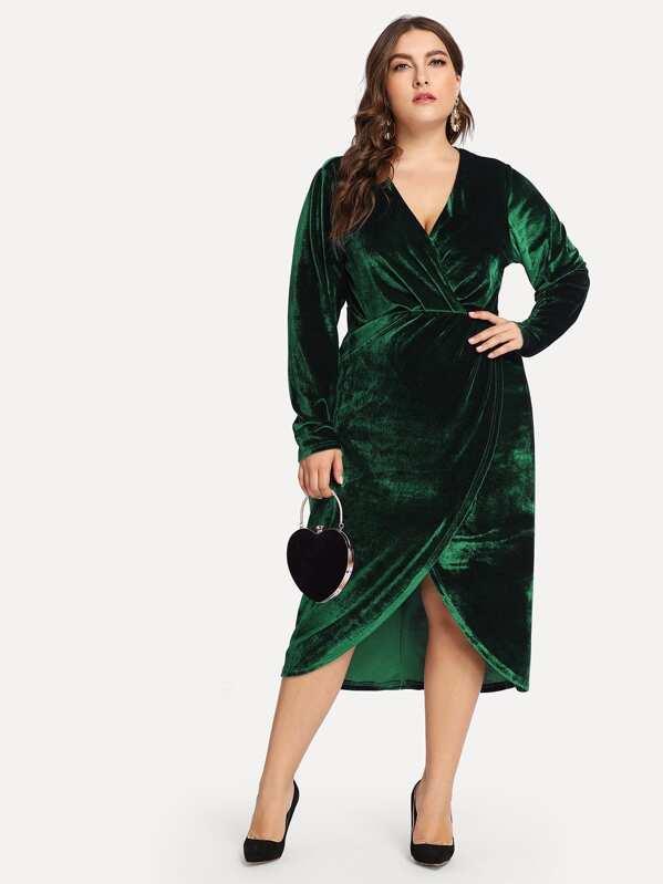 c04278a6b8 Cheap Plus Plunge Neck Wrap Velvet Dress for sale Australia