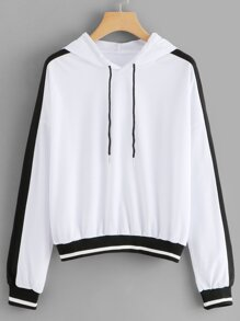 Drop Shoulder Two Tone Hoodie