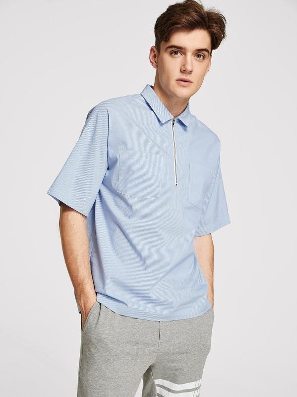 13a2405175 Men Zip Half Placket Striped Shirt | SHEIN IN