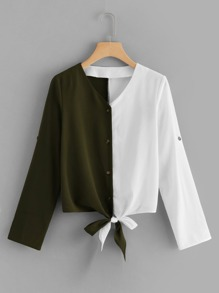 Knot Hem Colorblock Blouse