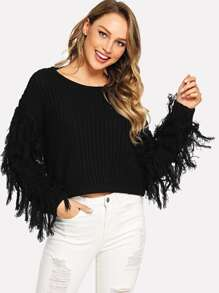 Fringe Detail Solid Sweater