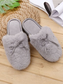 Bow Knot Faux Fur Slippers