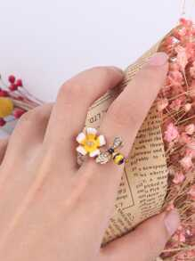 Bee & Flower Cuff Ring