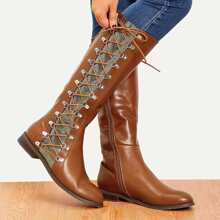 Lace-up Side Knee High Boots