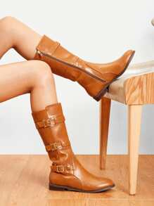 Buckle Decorated Side Zipper PU Boots