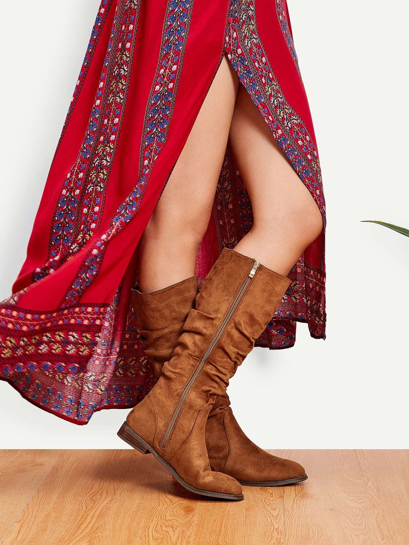 Ruched Detail Side Zipper Boots