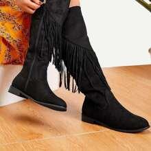 Tassel Detail Knee High Boots