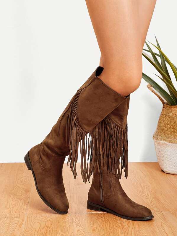 d67867c370 Tassel Detail Knee High Boots | SHEIN IN