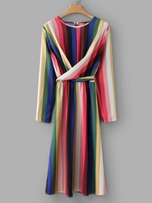 Rainbow Striped Criss Cross Belted Dress