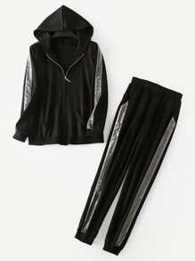 Plus Contrast Tape Hooded Jacket With Pants