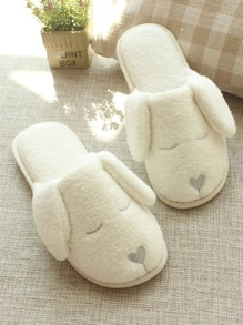 Dog Design Flat Fluffy Slippers